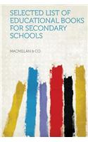 Selected List of Educational Books for Secondary Schools